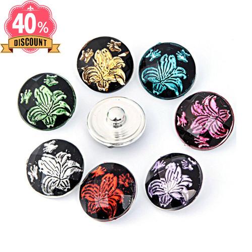 Beautiful Flower Snap Button Jewelry Supplies For Women LSSN659