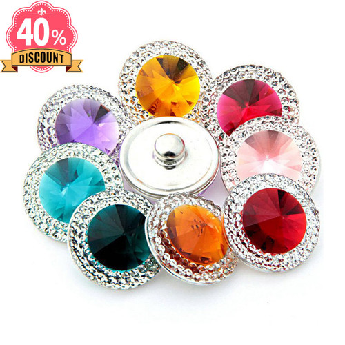 Crystal Colorful Snap Button Jewelry Fit Snap Button Ring For Women LSSN660