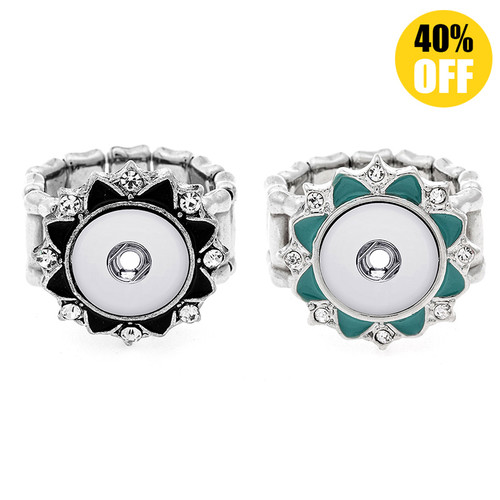 Beautiful Flower Snap Button Ring Fit 12mm Snap Button LSNR12MM04
