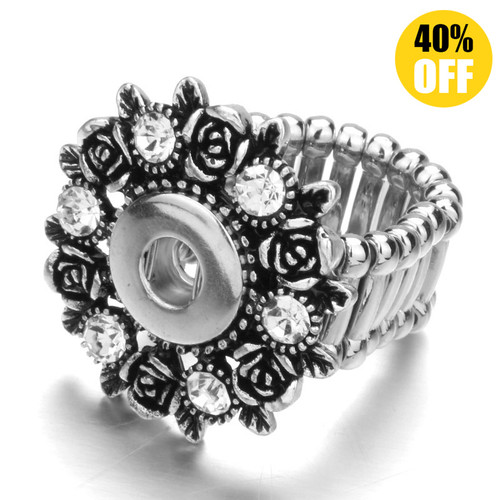 Bohemia Flower Snap Button Ring Fit 12mm Snap Button for women LSNR12MM08