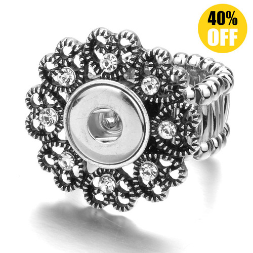 Heart Snap Button Ring Fit 12mm Snap Button for women LSNR12MM09