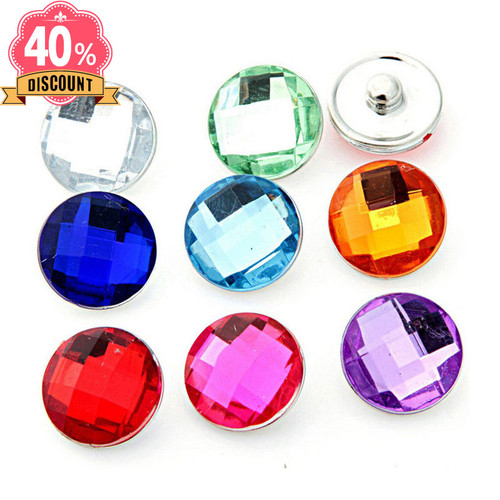 Crystal Round 18mm Snap Buttons Fit Snap Button Bracelet For Women LSSN663