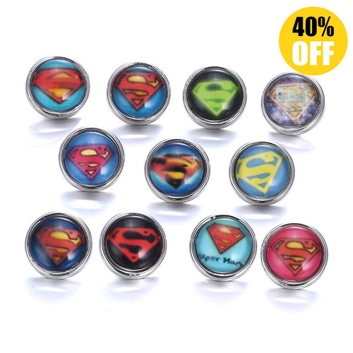 12mm Superman Wholesale Snap Jewelry Supplies For Woemn LSSN12MM49