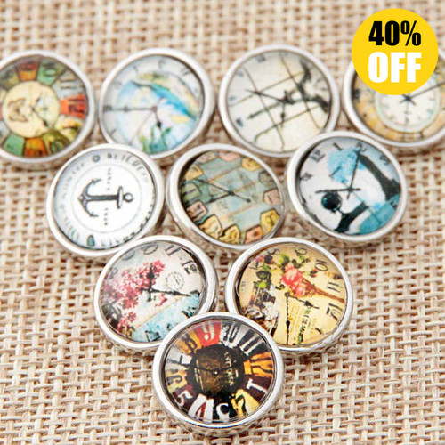 12mm Clock Wholesale Snap Jewelry Supplies For Woemn LSSN12MM60