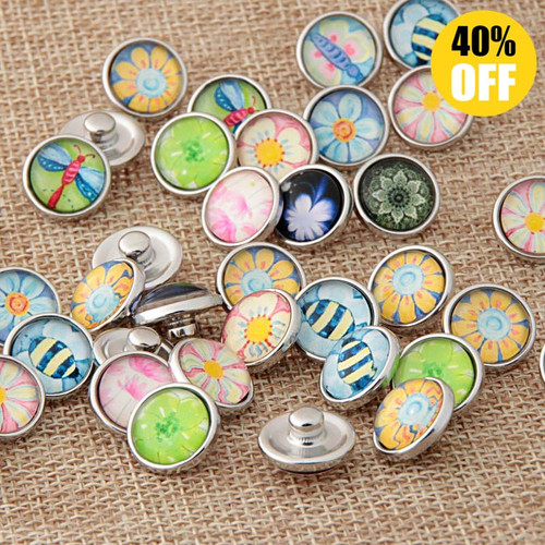 12MM Beautiful Flower Wholesale Snap Jewelry Supplies For Woemn LSSN12MM64