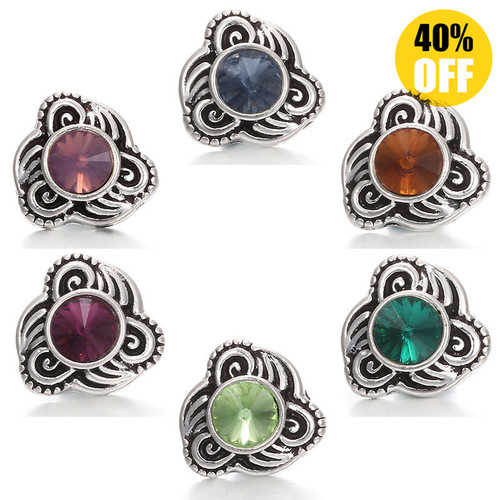 12MM Vintage Flower Snap On Jewelry Charms Fit Snap Button Bracelet LSSN12MM27
