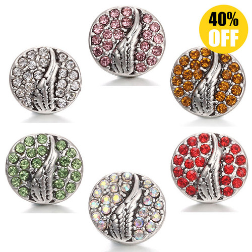 Crystal Wing 12mm Snap Jewelry Charms Fit Snap Button Bracelet