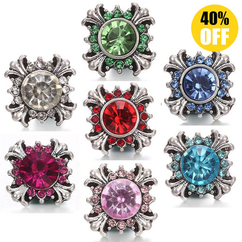 Crystal Flower 12mm Snap Jewelry Charms Fit Snap Button Bracelet