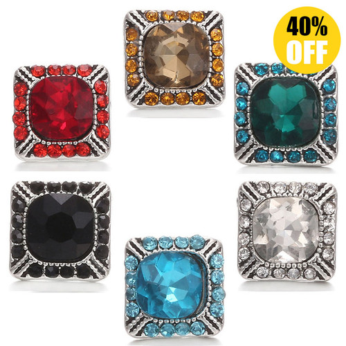 Crystal Square 12mm Snap Jewelry Charms Fit Snap Button Bracelet