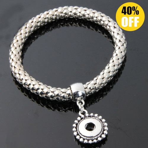Elasticity Silver Snap Charm Bracelets For Women Fit 12mm Snap Button Charms