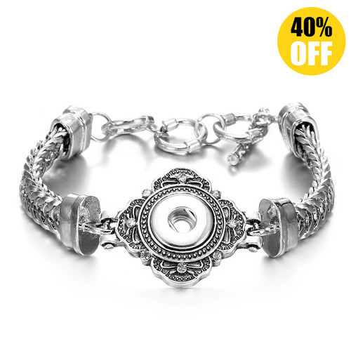 Vintage Flower silver snap bracelet For Women Fit 12mm Snap Button Charms