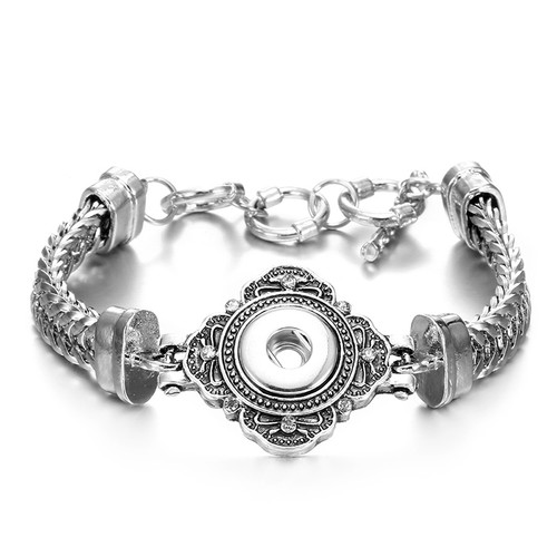 Vintage Flower silver snap bracelet For Women Fit 12mm Snap Button Charms LSNB12MM04