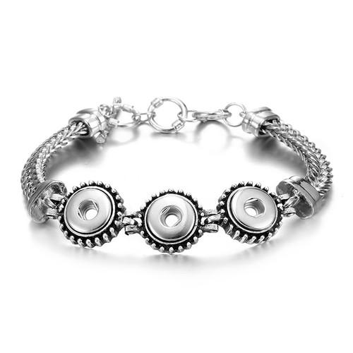 12mm Silver Snap Charm Bracelet Fit Snap Button LSNB12MM05