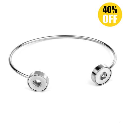 Simple Adjustable Bead Snap Bracelets Wholesale Fit 12mm Snap Button