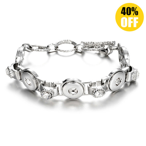 Fashion Silver Snap Charm Bracelet Fit 12mm Snap Button