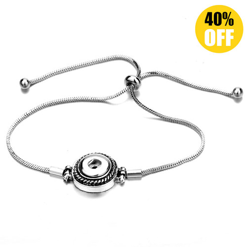 Adjustable Silver Snap Charm Bracelet Fit 12mm Snap Button