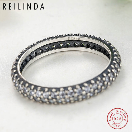 f4c82c67216fe 100% 925 Sterling Silver Inspiration Within Stackable Ring Clear CZ Crystal  Luxury Jewelry Gift PA7128