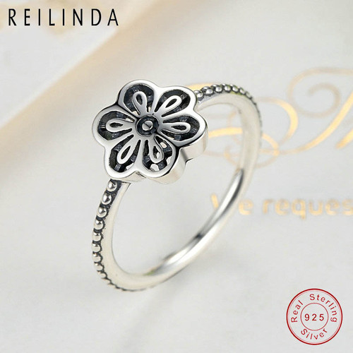 4ef514eb2 ... Vintage 925 Sterling Silver Flower Floral Daisy Lace Ring Authentic  Fine Jewelry for Women Wedding PA7180 ...