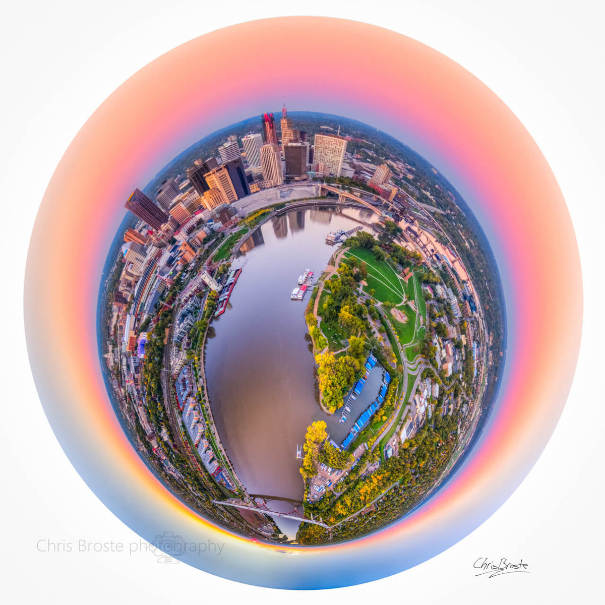 St. Pauls' skyline and riverfront from above in a 360 degree planet panorama photograph.