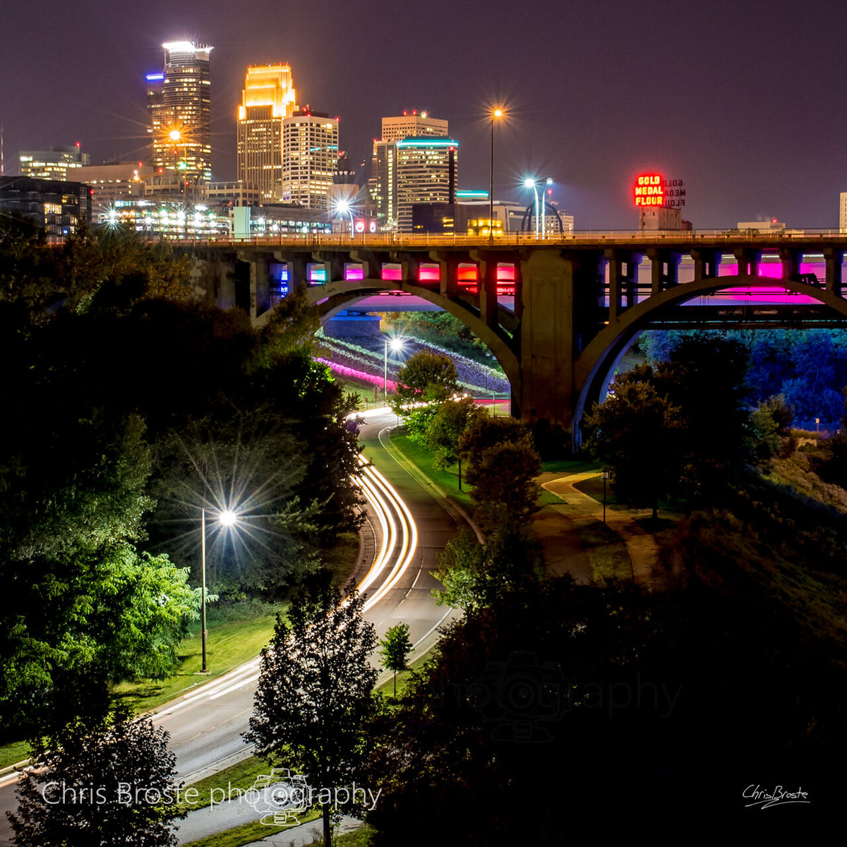 Minneapolis skyline over the Mississippi River and West River Road