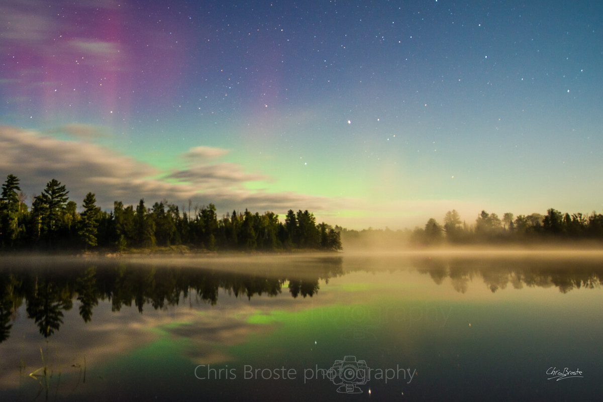 Northern lights seen from camp in the Boundary Waters Canoe Area Wilderness.