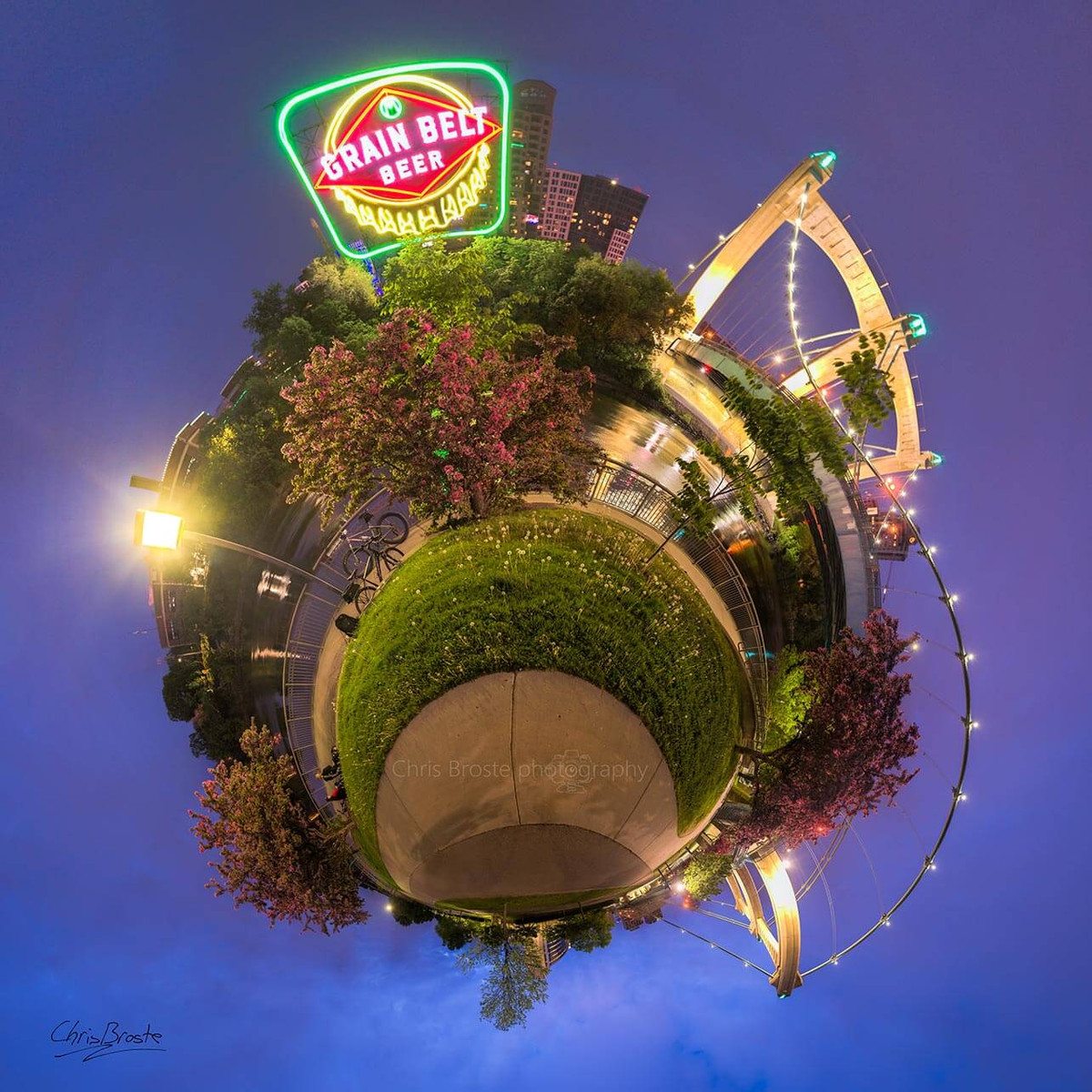 The iconic Grain Belt sign in Northeast Minneapolis 360 degree planet panorama photograph.