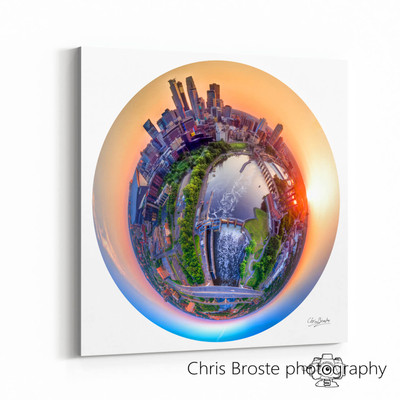 Side view of a gallery canvas wrap on wall showing the Minneapolis skyline and riverfront.