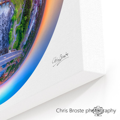 Corner view of a canvas wrap on wall showing the Minneapolis skyline and surrounding area.