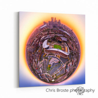 Side view of photographic wall art showing TCF Bank Stadium and Minneapolis.