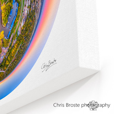 Corner view of a canvas wrap on wall showing skyline and surrounding area of St. Paul, Minnesota