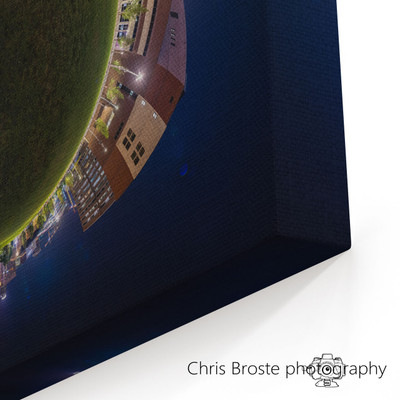 Corner view of a 360 degree panorama canvas wrap showing US Bank Stadium and Minneapolis skyline.