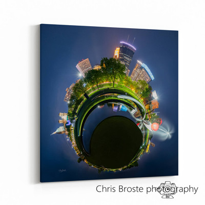 Side view showing a canvas wrap of the Minneapolis Sculpture Garden in a 360 degree photograph.