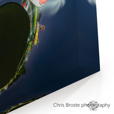 Corner view showing a canvas wrap of the Minneapolis Sculpture Garden in a 360 degree photograph.