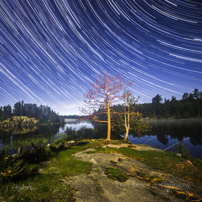 Star trails in the night sky above a foggy lake in the Boundary Waters