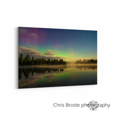 Side view of a canvas wrap showing the northern lights in the Boundary Waters.
