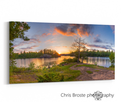 Side profile of wall art featuring a panoramic view of a Boundary Waters lakeside campsite.