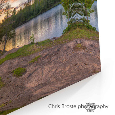 Corner of canvas wrap art showing the view from a Boundary Waters lakeside campsite.