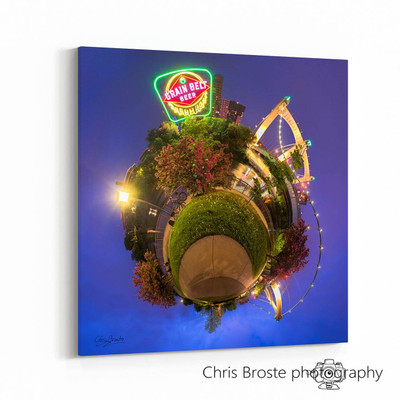 Side view of a gallery canvas wrap on wall showing the Grain Belt sign in Northeast Minneapolis
