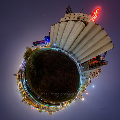 The Mill City Silos in Minneapolis in a 360 degree planet panorama photograph.