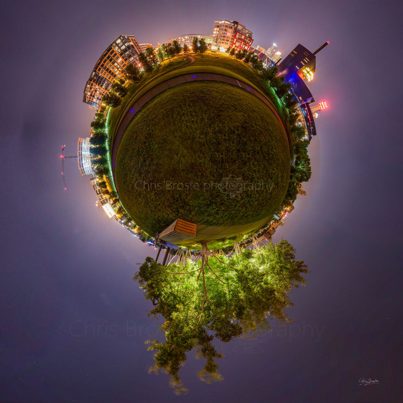 Gold Medal Park in Minneapolis in a 360 degree planet panorama photograph.