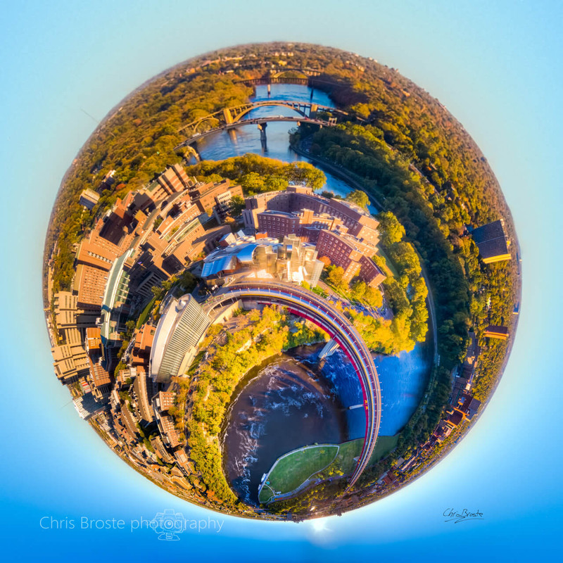 University of Minnesota in Minneapolis seen from above in a 360 degree planet panorama photograph.