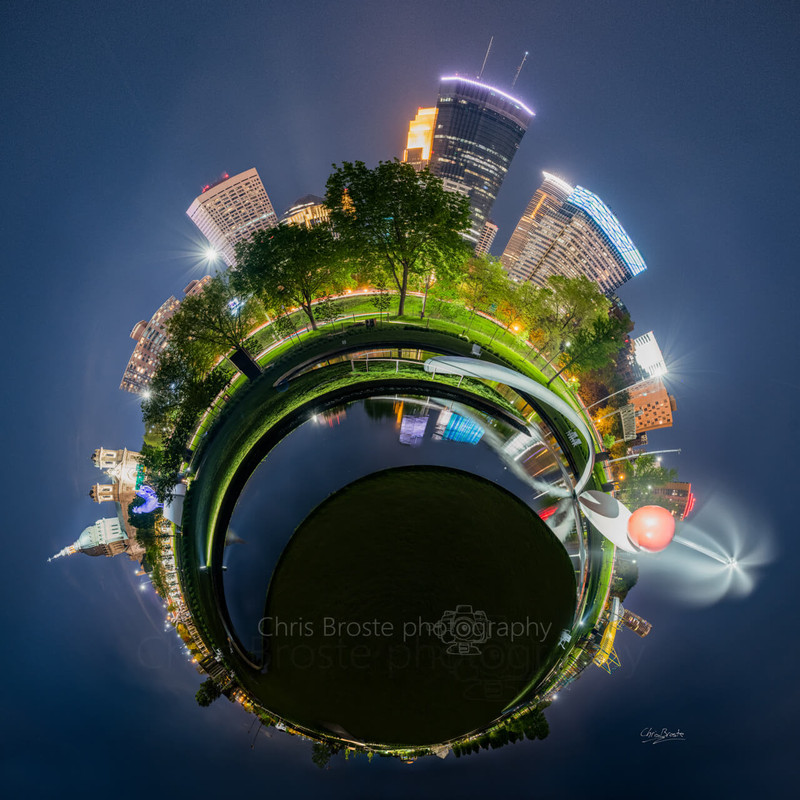Minneapolis Sculpture Garden in a 360 degree planet panorama photograph.