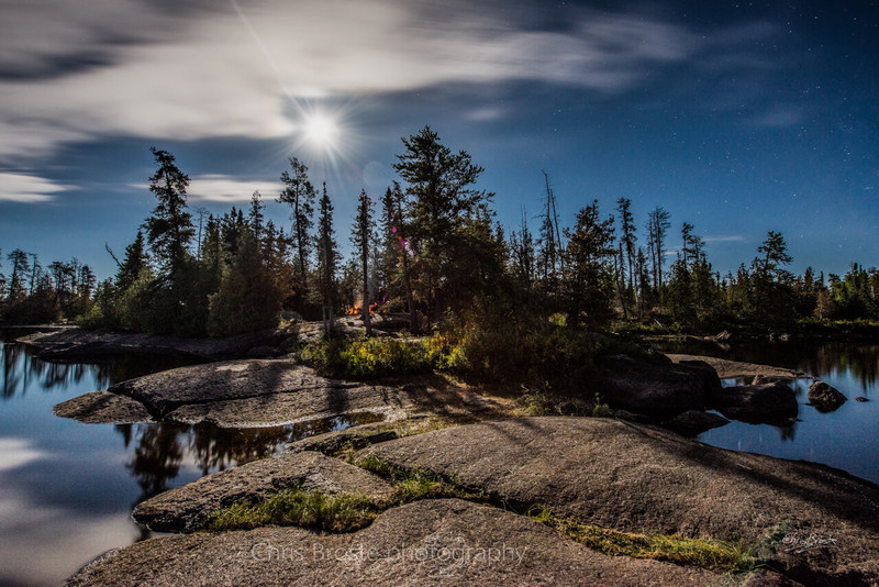 Camping in the Boundary Waters under a full moon.