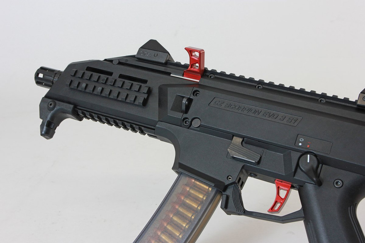 HB Industries CZ Scorpion EVO 3 DELTA Extended Charging Handle (Red or Black)