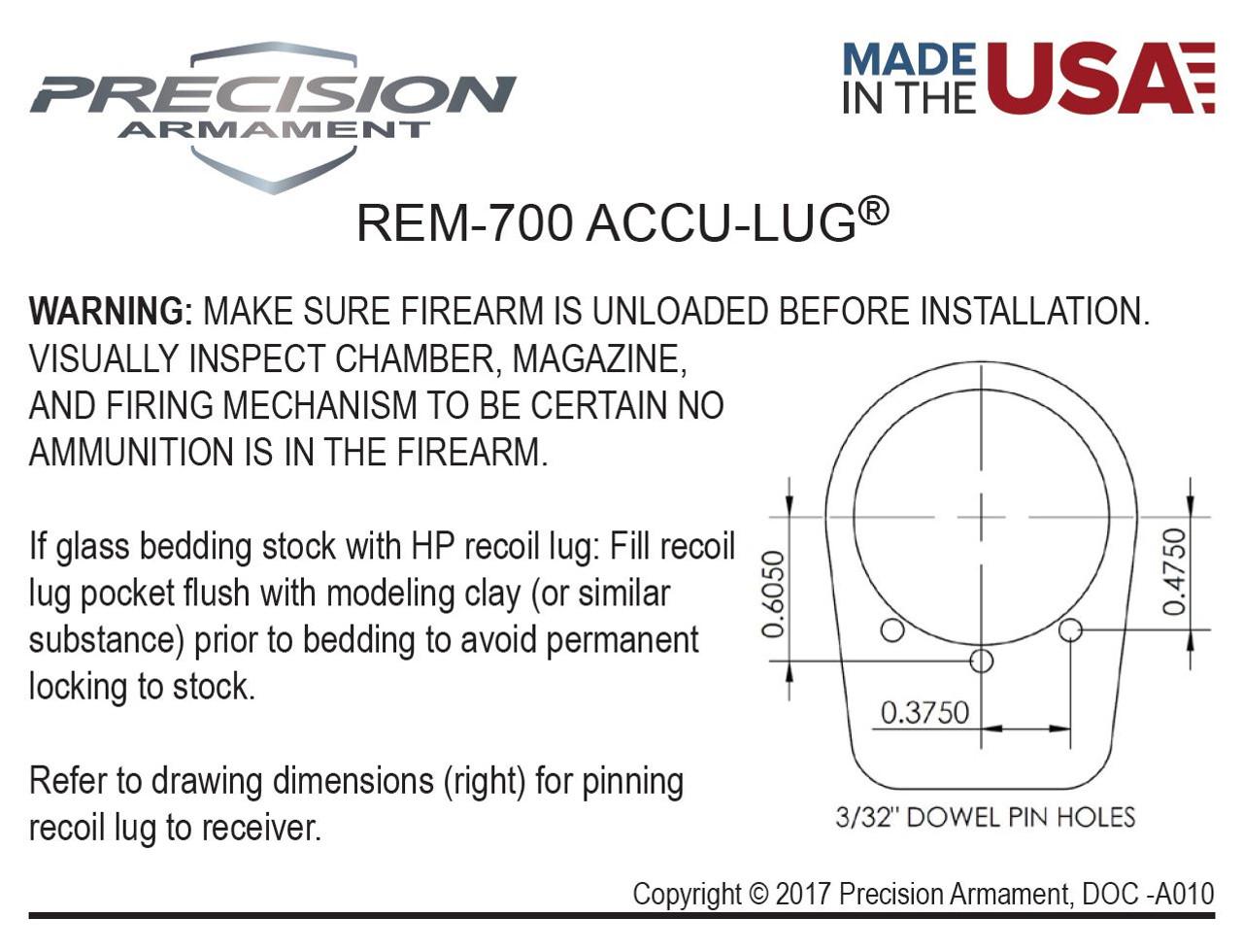 Precision Armament Accu-Lug Remington 700 Recoil Lug