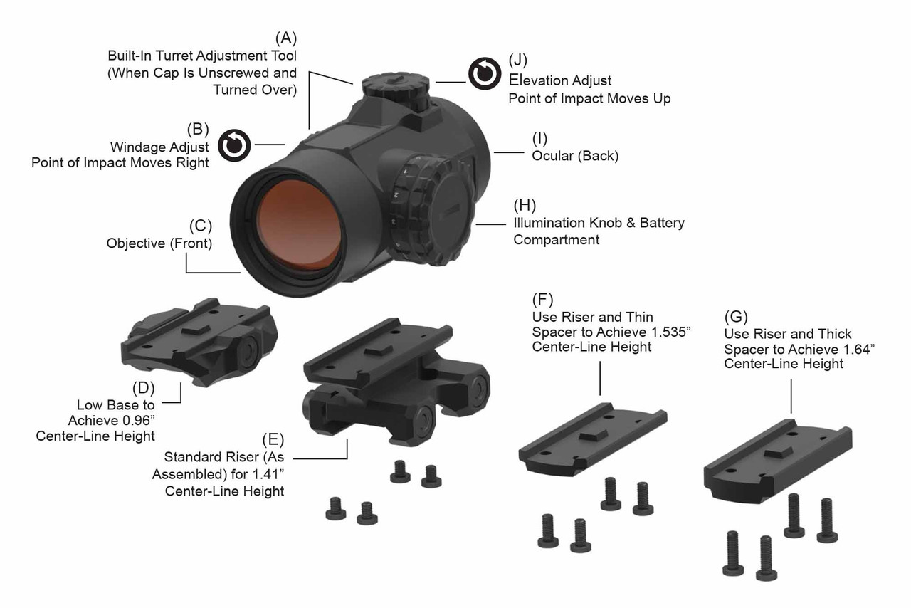 Primary Arms SLx MD-25 Rotary Knob 25mm Microdot with 2 MOA Red Dot Reticle