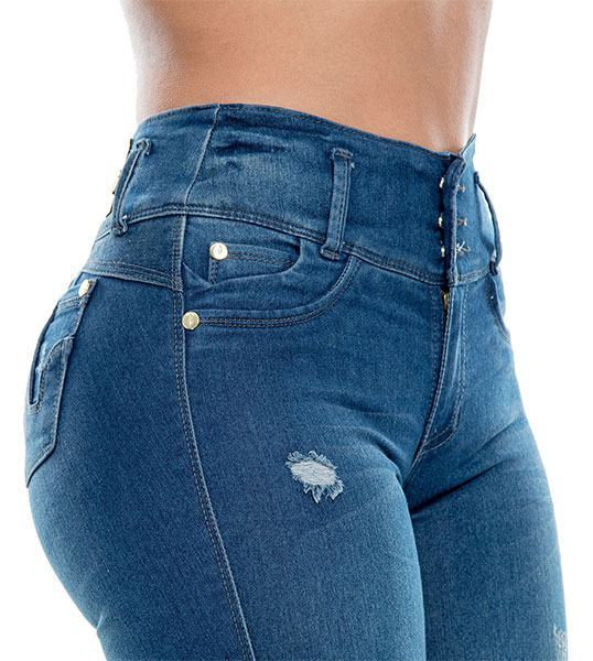 8d5ee22c1fa Easygoing Blue Butt-Lifting Jeans by Bon Bon Up 3207 - Hourglass Angel
