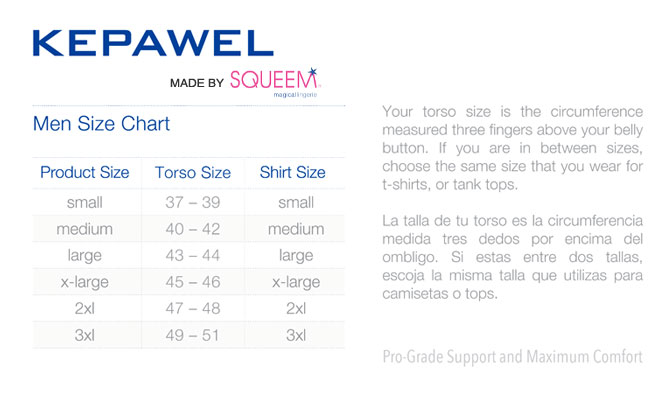 Men's Shapewear Size Chart