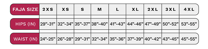 LT Rose Size Chart