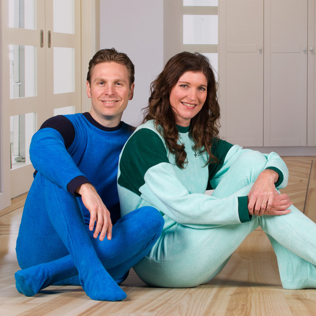 Unisex Jumpsuit with a Zipper-Back, Long Legs, Closed Foot, and Long Sleeves